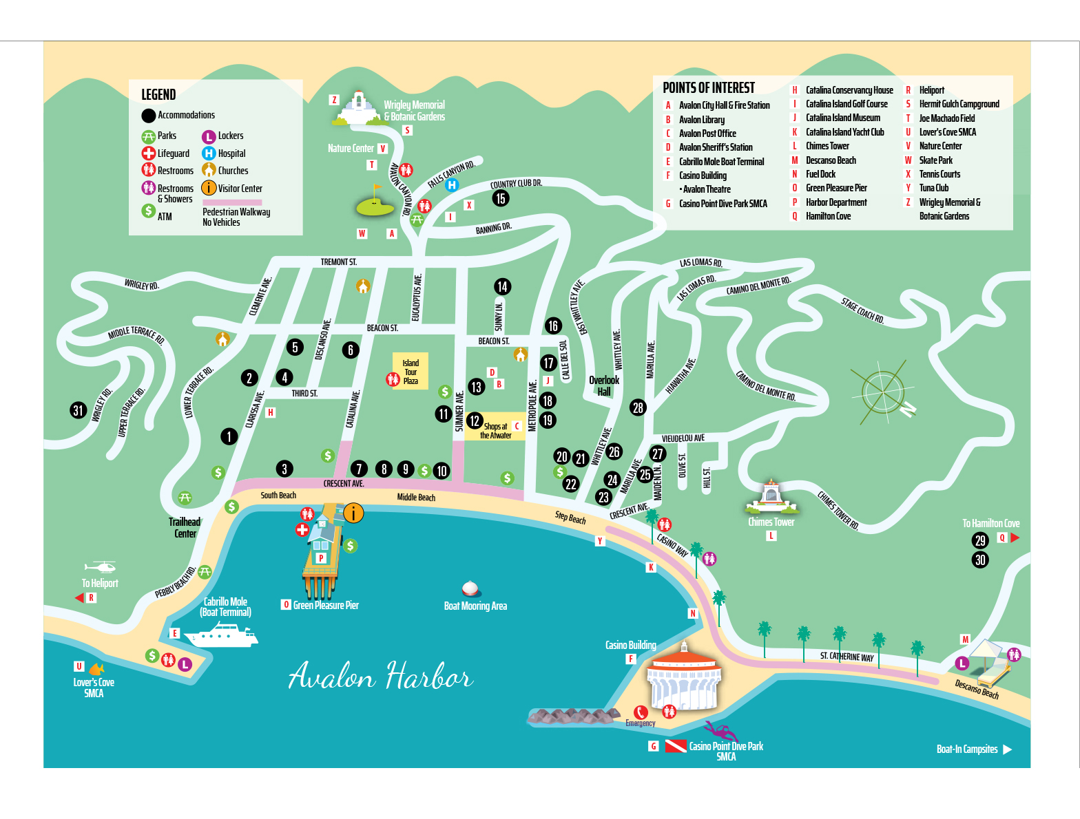 Maps : Catalina Express Catalina Island Hotels Map on
