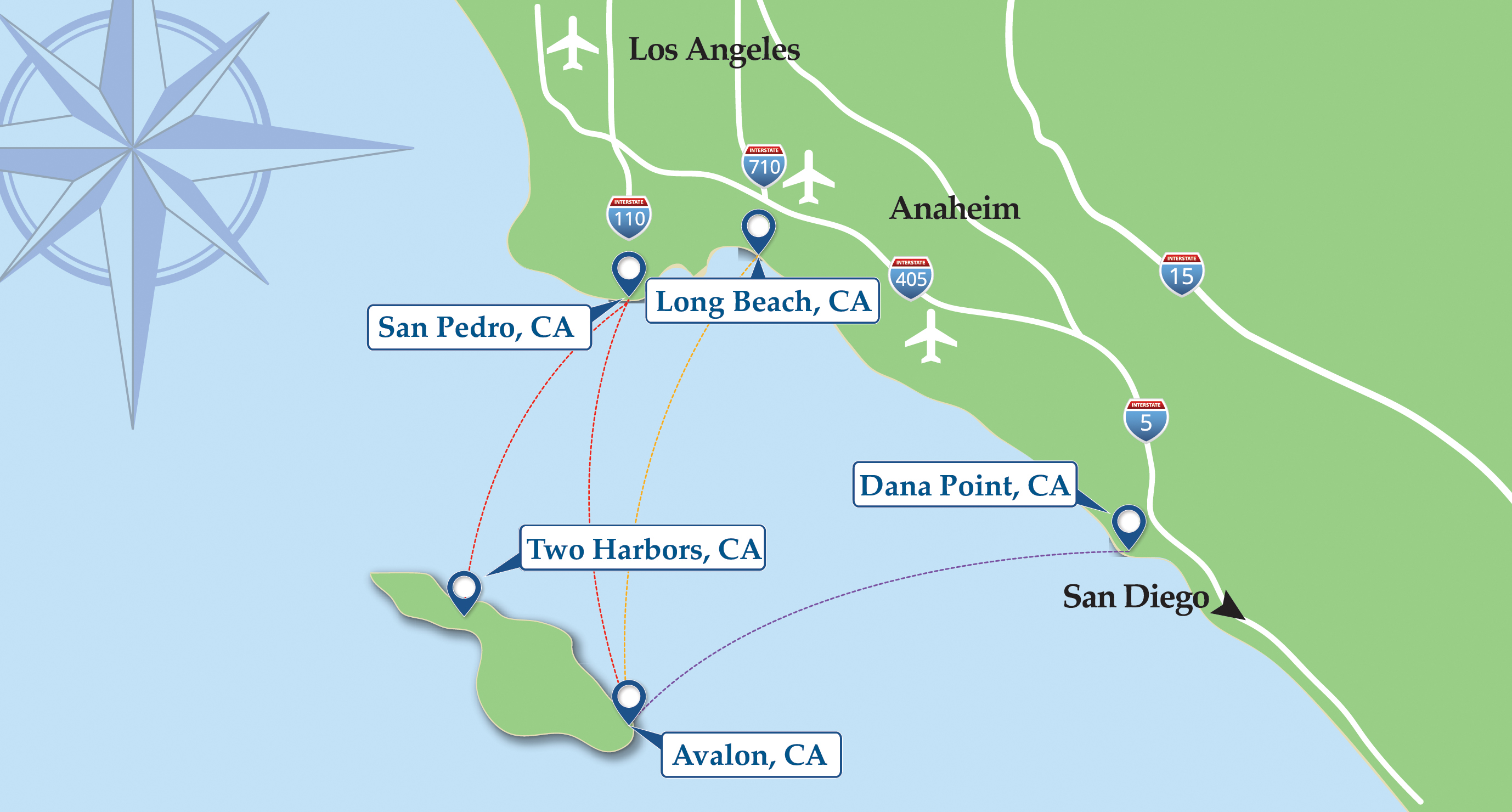 Map of Catalina Express ferry routes including mainland and Catalina