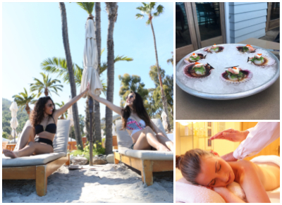 Girls on the beach, seafood dinner, spa treatment
