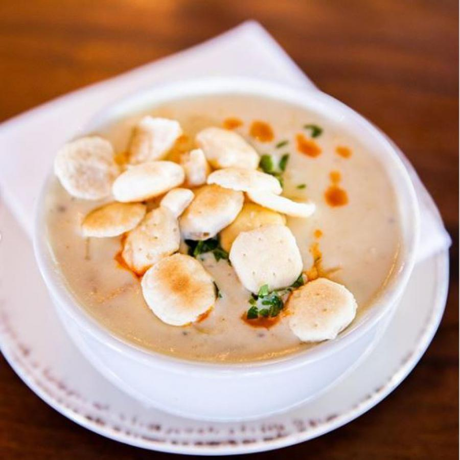 warm and creamy clam chowder from bluewater grill